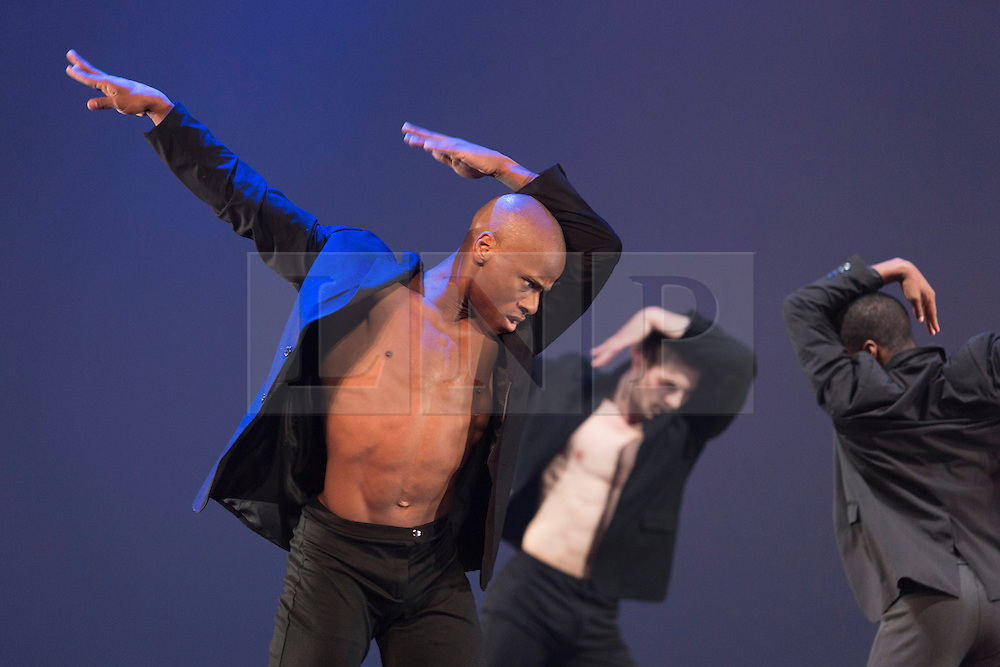"""© Licensed to London News Pictures. 12/06/2014. London, England. James Boyd at the front. Rasta Thomas' """"Rock the Ballet"""" starring the Bad Boys of Dance makes its London debut at the Peacock Theatre. """"Rock the Ballet"""" is a fusion of classical ballet techniques belnded with musical theatre, hip hop and acrobatics. The show is danced to some of rock and pop's biggest hits. Choregraphed and danced by Adrienne Canterna with """"The Bad Boys of Dance"""" James Boyd, Robbie Nicholson, Tim Olson, Lee Gumbs, Blake Zelesnikar and Joshua Alexander. At the Peacock Theatre from 10 to 28 June 2014. Photo credit: Bettina Strenske/LNP"""