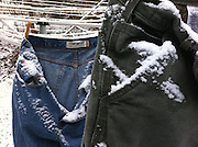 Snow pants caught in an April snow. (Photo © Andy Manis)