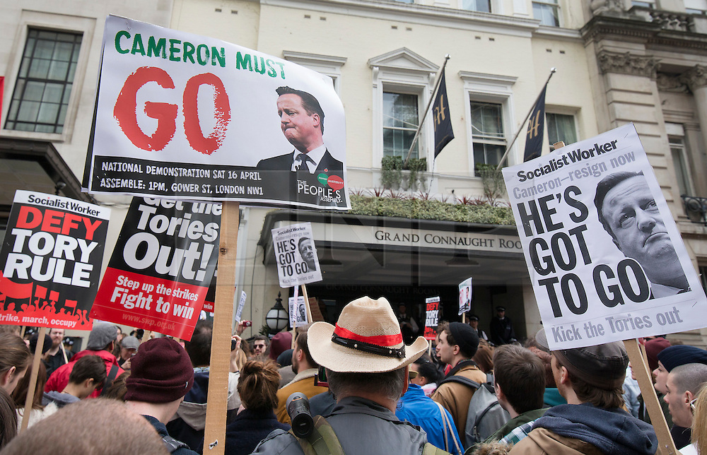 © Licensed to London News Pictures. 09/04/2016. London, UK. A tax reform demonstration reaches the Conservative Spring Conference at the Connaught Rooms. Photo credit: Peter Macdiarmid/LNP