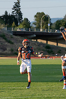 KELOWNA, BC - AUGUST 3:  Javen Kaechele #84 of Okanagan Sun watches the pass against the Kamloops Broncos during the first quarter at the Apple Bowl on August 3, 2019 in Kelowna, Canada. (Photo by Marissa Baecker/Shoot the Breeze)