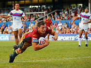 Greg Bird of  Catalans Dragons dives over to score a try against Wakefield Trinity during the Betfred Super League match at Mobile Rocket Stadium, Wakefield<br /> Picture by Stephen Gaunt/Focus Images Ltd +447904 833202<br /> 07/07/2018
