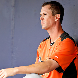 Mar 2, 2013; Port Charlotte, FL, USA; Baltimore Orioles starting pitcher Brian Matusz (17) sits in the dugout during the fifth inning after giving up back to back homeruns in the bottom of the fourth inning of a spring training game against the Tampa Bay Rays at Charlotte Sports Park. Mandatory Credit: Derick E. Hingle-USA TODAY Sports