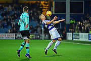 Queens Park Rangers defender Jake Bidwell (3) chests the ball during the EFL Sky Bet Championship match between Queens Park Rangers and Derby County at Loftus Road, London, England on 14 December 2016. Photo by Jon Bromley.