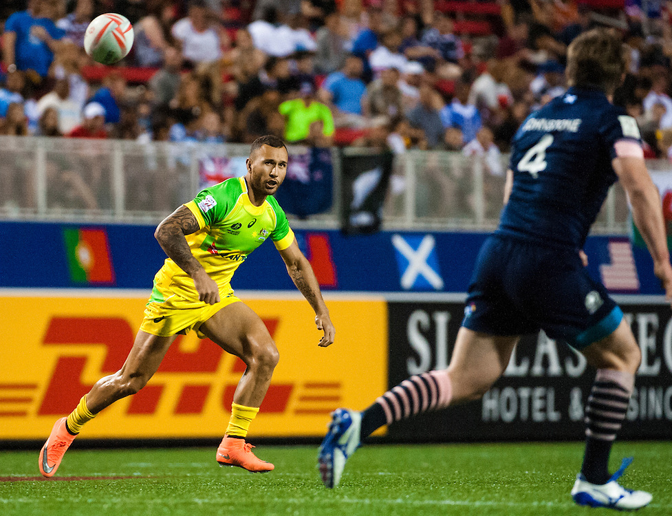 Quade Cooper of Australia during the pool stage of the 2016 USA Sevens leg of the HSBC Sevens World Series at Sam Boyd Stadium  Las Vegas, Nevada. March 4, 2016.<br /> <br /> Jack Megaw for USA Sevens.<br /> <br /> www.jackmegaw.com<br /> <br /> 610.764.3094<br /> jack@jackmegaw.com