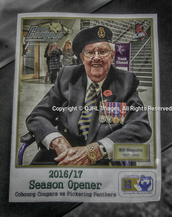 COBOURG, ON - SEP 12,  2016: Ontario Junior Hockey League game between Pickering and Cobourg, The game program in Memory of Bill Maguire.<br /> (Photo by Tim Bates / OJHL Images)