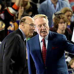 Los Angeles Kings and hall of fame announcer Bob Miller, left, with Los Angeles Dodgers and hall of fame announcer Vin Scully prior to the inaugural NHL Stadium Series game against the Anaheim Ducks at Dodger Stadium in Los Angeles on Saturday, Jan. 25, 2014. (Keith Birmingham Pasadena Star-News)