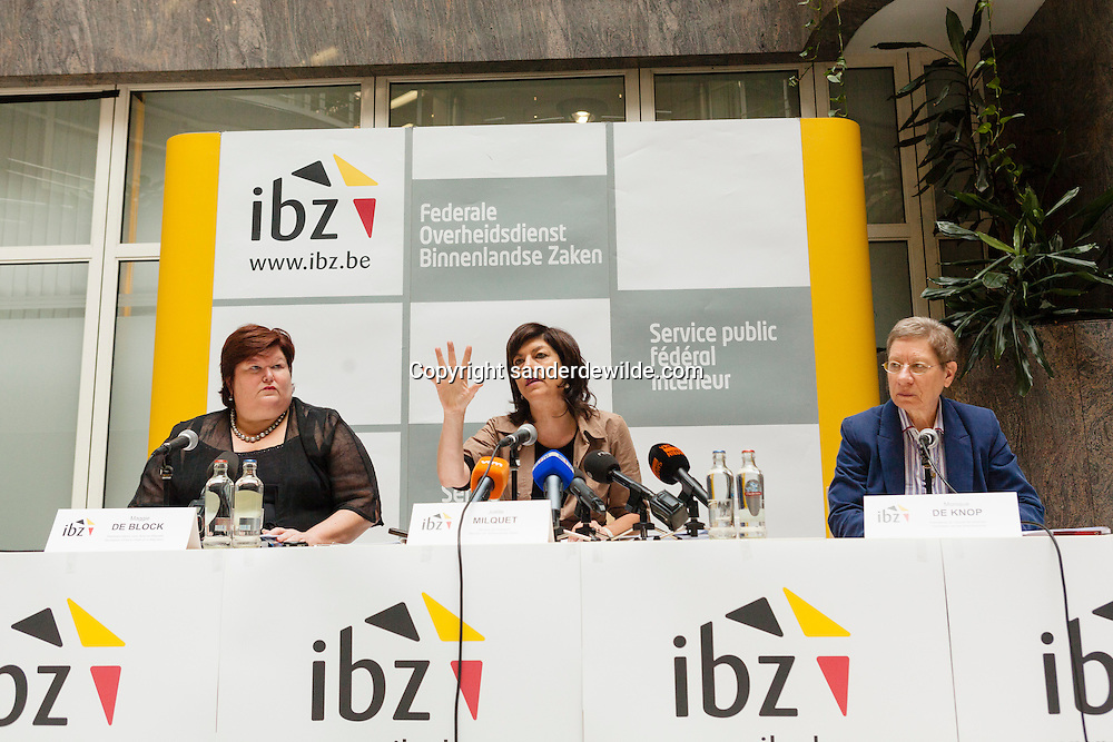 Press conference by secretary of state Maggie De Block (asylum and migration), minister of internal affairs Joelle Milquet, and mrs Monique de Knop, head of federal bureau of internal affairs Belgium.