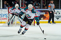 KELOWNA, CANADA - MARCH 3: Lassi Thomson #2 of the Kelowna Rockets skates with the puck against the Portland Winterhawks  on March 3, 2019 at Prospera Place in Kelowna, British Columbia, Canada.  (Photo by Marissa Baecker/Shoot the Breeze)