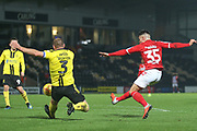 Dan Ward of Middlesbrough (35) shoots at goal during the EFL Trophy group stage match between Burton Albion and U21 Middlesbrough at the Pirelli Stadium, Burton upon Trent, England on 7 November 2018.