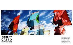 Angus Watt's flags at WOMADelaide at Botanic Gardens, Adelaide, South Australia (SA), Australia.
