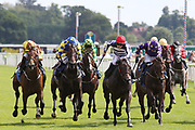 ARCHIE PERKINS (4) ridden by Rowan Scott and trained by Nigel Tinkler winning The 30 Year Curzon Club York Anniversary Stakes over 1m 2f (£15,000)  during the John Smiths Cup Meeting at York Racecourse, York, United Kingdom on 12 July 2019.