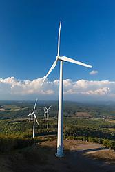 Wind turbines on Mars Hill as seen from the International Appalachian Trail in Mars, Hill, Maine.