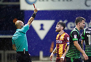 Romain Vincelot of Bradford City is shown a red card by Referee Darren Drysdale for a foul on Alfie May of Doncaster Rovers during the EFL Cup match between Bradford City and Doncaster Rovers at the Northern Commercials Stadium, Bradford, England on 8 August 2017. Photo by Paul Thompson.