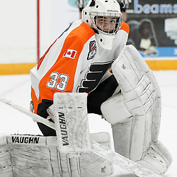 TRENTON, ON - SEP 16:  Nathan Torchia #33 of the Orangeville Flyers during the OJHL regular season game between the  Orangeville Flyers and Trenton Golden Hawks on September 16, 2016 in Trenton, Ontario. (Photo by Amy Deroche/OJHL Images)