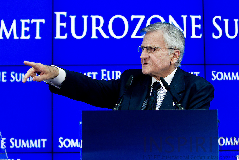 Jean-Claude Trichet, president of the European Central Bank, speaks during a news conference after attending a summit of European Union leaders in Brussels, Belgium, on Thursday, July 21, 2011. PHOTO: ERIK LUNTANG / INSPIRIT Photo.