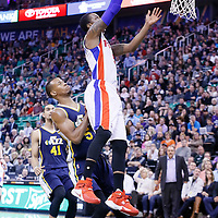 25 January 2016: Detroit Pistons guard Kentavious Caldwell-Pope (5) goes for the layup past Utah Jazz guard Rodney Hood (5) during the Detroit Pistons 95-92 victory over the Utah Jazz, at the Vivint Smart Home Arena, Salt Lake City, Utah, USA.