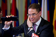 rome, jan 15th 2015, Mr Jyrki Katainen press conference, vice-president of European Commission, during his visit in Italy. Mr Katainen takes a picture with the phone during the press conference