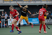 Den Bosch's Maartje Paumen loses out in the challenge with Monkstown's Sophie Moore (L) and Anna O'Flanaganduring their opening game of the EHCC 2017 at Den Bosch HC, The Netherlands, 2nd June 2017