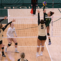 4th year outside hitter Ashlee Sandiford (1) of the Regina Cougars in action during Women's Volleyball home game on February 10 at Centre for Kinesiology, Health and Sport. Credit: Arthur Ward/Arthur Images