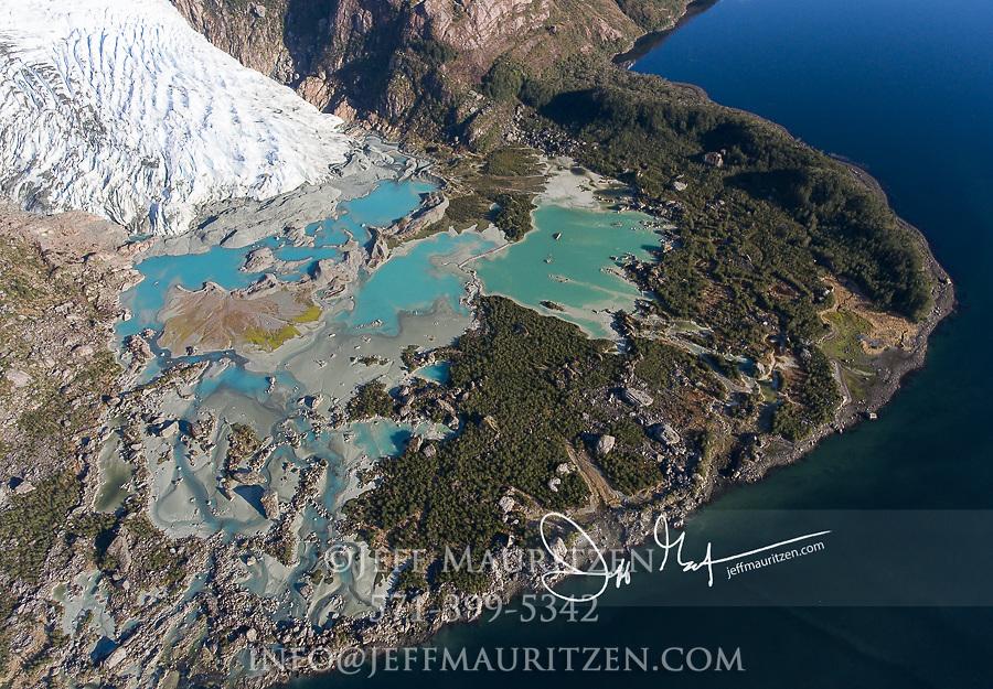 Bernal glacier (Benito glacier) and Estero las Montanas located in Alacalufes National Reserve, Chile.