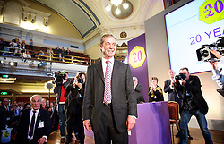UKIP Leader Nigel Farage during his Keynote Speech at UKIP's annual conference, Central Hall, Westminster, London, United Kingdom. Friday, 20th September 2013. Picture by Elliot Franks / i-Images