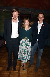Left to right, ZAC GOLDSMITH, his wife SHEHERAZADE and BEN ELLIOT at a party to celebrate the publication of 'E is for Eating' by Tom Parker Bowles held at Kensington Place, 201 Kensington Church Street, London W8 on 3rd November 2004.<br /><br />NON EXCLUSIVE - WORLD RIGHTS