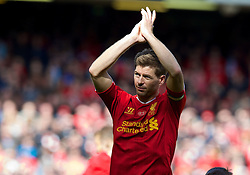 LIVERPOOL, ENGLAND - Sunday, May 11, 2014: Liverpool's captain Steven Gerrard applauds the supporters after the final game of the season, a 2-1 victory over Newcastle United, during the Premiership match at Anfield. (Pic by David Rawcliffe/Propaganda)