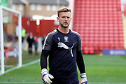 AFC Wimbledon goalkeeper George Long (1) warming up during the EFL Sky Bet League 1 match between Charlton Athletic and AFC Wimbledon at The Valley, London, England on 28 October 2017. Photo by Matthew Redman.