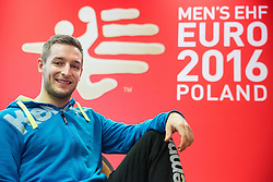 Gasper Marguc of Slovenia posing on Day 5 of Men's EHF EURO 2016, on January 19, 2016 in Mercure Hotel Wroclaw, Poland. Photo by Vid Ponikvar / Sportida