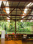 An open-air kitchen and dining area in the rainforest near Manzanillo, Limon, Costa Rica.