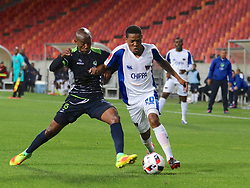 Sibusiso Msomi of Platinum Stars (L) and Sizwe Mdlinzo of Chippa United during the 2016 Premier Soccer League match between Chippa United and Platinum Stars held at the Nelson Mandela Bay Stadium in Port Elizabeth, South Africa on the 28th October 2016<br />