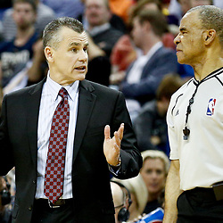 Dec 21, 2016; New Orleans, LA, USA;  Oklahoma City Thunder head coach Billy Donovan against the New Orleans Pelicans during the second half of a game at the Smoothie King Center. The Thunder defeated the Pelicans 121-110. Mandatory Credit: Derick E. Hingle-USA TODAY Sports