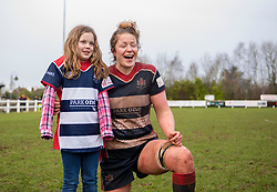 Mascot poses with Amelia Buckland-Hurry of Bristol Ladies - Mandatory by-line: Paul Knight/JMP - 03/02/2018 - RUGBY - Cleve RFC - Bristol, England - Bristol Ladies v Harlequins Ladies - Tyrrells Premier 15s