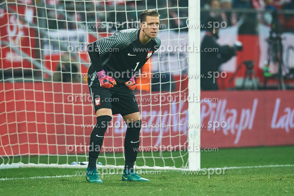 Wroclaw, Poland - 2016 November 14: Goalkeeper Wojciech Szczesny of Poland looks at the ball during Poland v Slovenia - International Friendly Soccer Match at Municipal Stadium on November 14, 2016 in Wroclaw, Poland.<br /> <br /> Adam Nurkiewicz declares that he has no rights to the image of people at the photographs of his authorship.<br /> <br /> Picture also available in RAW (NEF) or TIFF format on special request.<br /> <br /> Any editorial, commercial or promotional use requires written permission from the author of image.<br /> <br /> Mandatory credit:<br /> Photo by © Adam Nurkiewicz / Mediasport