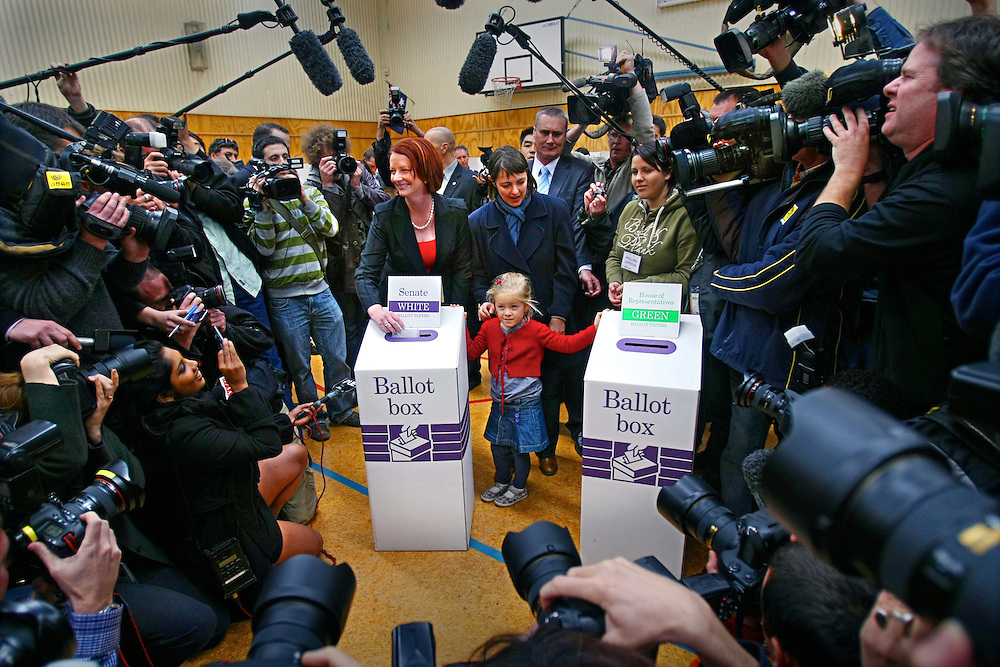 Federal Election 2010 - Prime Minister Julia Gillard votes at Seabrook Primary School in Melbourne s western suburbs  - Pic By Craig Sillitoe 21/08/2010 SPECIAL 000 melbourne photographers, commercial photographers, industrial photographers, corporate photographer, architectural photographers, This photograph can be used for non commercial uses with attribution. Credit: Craig Sillitoe Photography / http://www.csillitoe.com<br />