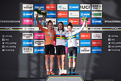 Top three: Annemiek van Vleuten (NED), Anna van der Breggen (NED) and Amanda Spratt (AUS) at UCI Road World Championships 2019 Women's Elite Road Race a 149.4 km road race from Bradford to Harrogate, United Kingdom on September 28, 2019. Photo by Sean Robinson/velofocus.com