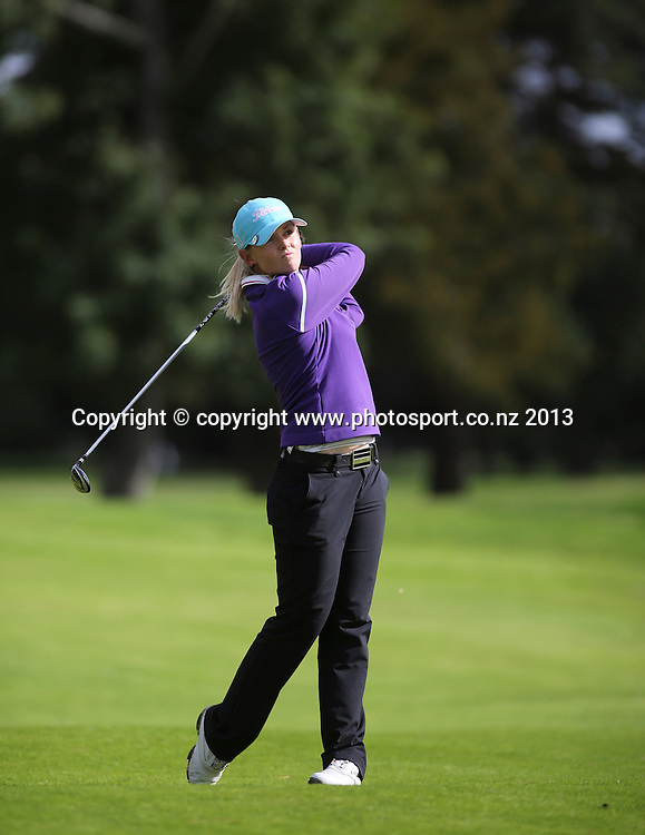 Grace Senior on the first day of the 2013 New Zealand Amateur Championship, Manawatu Golf Club, Palmerston North, New Zealand. Wednesday 24 April 2013. Photo: John Cowpland / photosport.co.nz