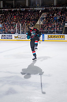 KELOWNA, CANADA - OCTOBER 13:  Kaedan Korczak #6 of the Kelowna Rockets celebrates a goal against the Tri-City Americans on October 13, 2018 at Prospera Place in Kelowna, British Columbia, Canada.  (Photo by Marissa Baecker/Shoot the Breeze)  *** Local Caption ***
