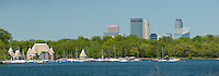 Panoramic view of lake Harriet and the Minneapolis skyline. High resolution 100mb original file size.