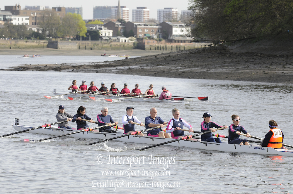Chiswick, London, GREAT BRITAIN,  2011 Veterans' Head of the River Race.  Vets' HORR. Mortlake to Putney,  Championship Course River Thames on Sunday  03/04/2011 taken from Chiswick Pier. [Mandatory Credit, Peter Spurrier/Intersport-images]