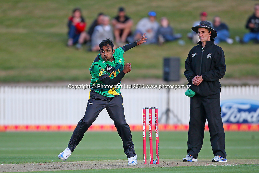 Central Stags' Mahela Jayawardena bowling during the McDonalds Super Smash T20 cricket match - Knights v Stags played at Seddon Park, Hamilton, New Zealand on Friday 23 December.<br /> <br /> Copyright photo: Bruce Lim / www.photosport.nz