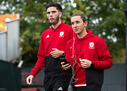 NEWPORT, WALES - Tuesday, October 16, 2018: Wales' Cian Harries and Aaron Lewis arrive ahead of the UEFA Under-21 Championship Italy 2019 Qualifying Group B match between Wales and Switzerland at Rodney Parade. (Pic by Laura Malkin/Propaganda)