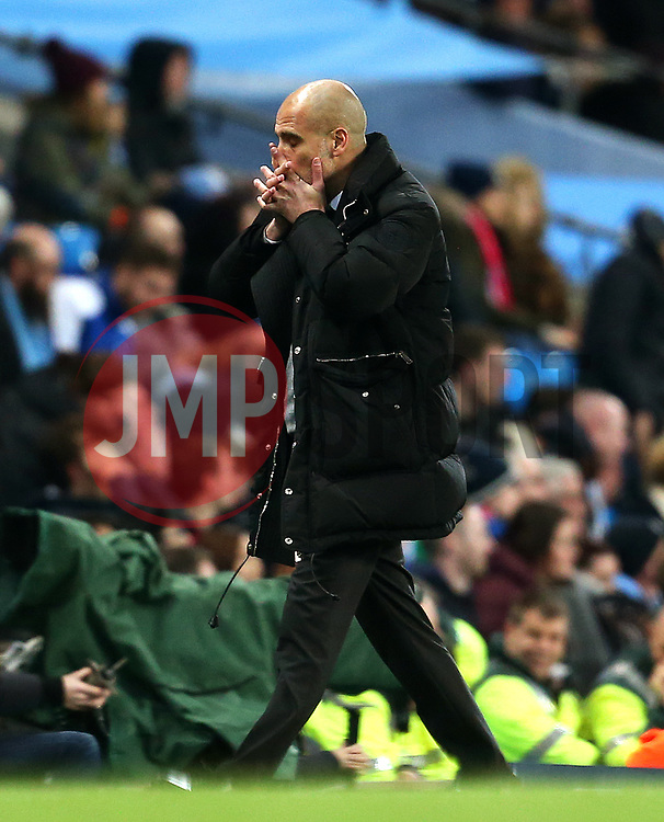Manchester City manager Pep Guardiola reacts after his side miss a late chance  - Mandatory by-line: Matt McNulty/JMP - 08/03/2017 - FOOTBALL - Etihad Stadium - Manchester, England - Manchester City v Stoke City - Premier League