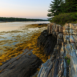 Gosling Island atfter sunset in Casco Bay, Harpswell, Maine.