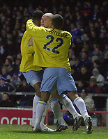 Photo. Glyn Thomas.<br /> Ipswich Town v Crystal Palace. Division 1. <br /> Portman Road, Ipswich. 28/12/2003.<br /> Palace's Andrew Johnson (C), who scored two of his side's goals and set up Julian Gray (L) for the other one.