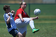 SO Denmark athlete (L) fights for the ball with SO Germany athlete (R) while football women match 7-a-side during fourth day of the Special Olympics World Games Los Angeles 2015 on July 28, 2015 at Balboa Sports Centre in Los Angeles, USA.<br /> USA, Los Angeles, July 28, 2015<br /> <br /> Picture also available in RAW (NEF) or TIFF format on special request.<br /> <br /> For editorial use only. Any commercial or promotional use requires permission.<br /> <br /> Adam Nurkiewicz declares that he has no rights to the image of people at the photographs of his authorship.<br /> <br /> Mandatory credit:<br /> Photo by &copy; Adam Nurkiewicz / Mediasport