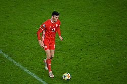CARDIFF, WALES - Sunday, October 13, 2019: Wales' Kieffer Moore during the UEFA Euro 2020 Qualifying Group E match between Wales and Croatia at the Cardiff City Stadium. (Pic by Paul Greenwood/Propaganda)