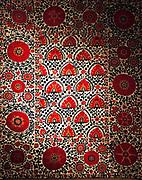 Suzani with Lattice Design. Silk Embroidery on Cotton Schahr-e Sabs in Uzbekistan