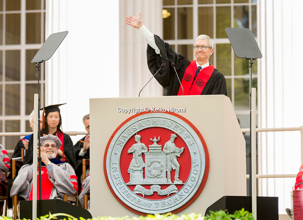 June 9, 2017,  Massachusetts Institute of Technology, Cambridge, Massachusetts: Apple CEO Tim Cook speaks during Commencement Exercises at Massachusetts Institute of Technology  in Cambridge.