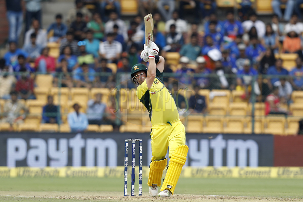 Aaron Finch of Australia plays a shot during the 4th One Day International between India and Australia held at the M. Chinnaswamy Stadium in Bengaluru on the 28th  September 2017<br /> <br /> Photo by Arjun Singh / BCCI / SPORTZPICS